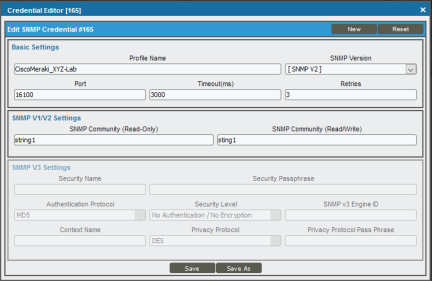 Creating an SNMP Credential